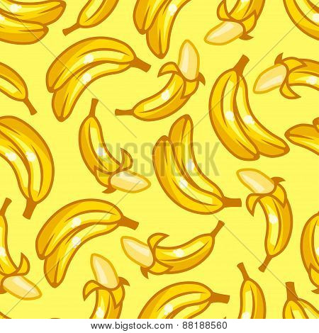 Seamless pattern with stylized fresh ripe bananas