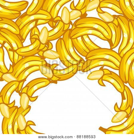 Background design with stylized fresh ripe bananas