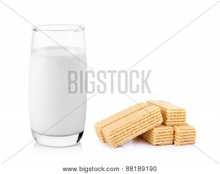 Glass Of Milk With Wafers  Isolated On White Background