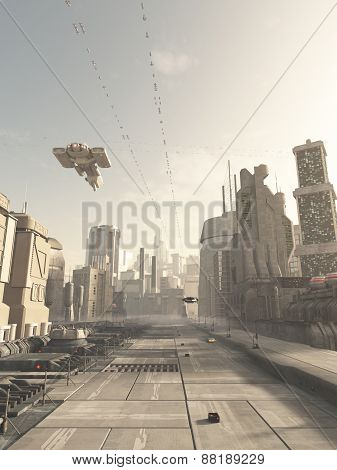 Future City Street with Space Cruiser Overhead