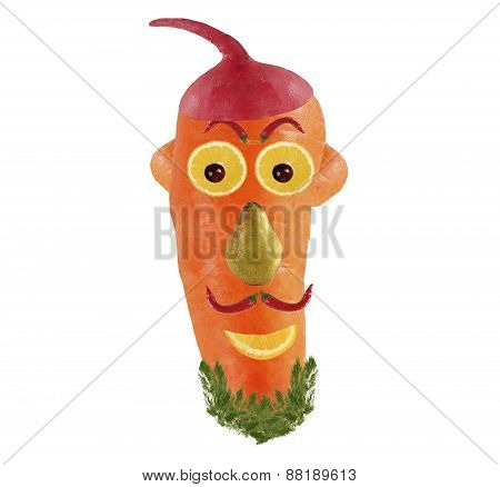 Creative Food Concept. Funny Portrait Made Of Carrot And Fruits