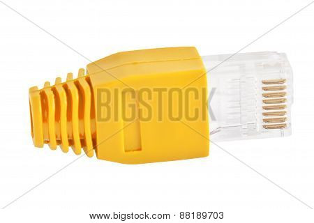 Rj45 - Single Plug Yellow (side View)