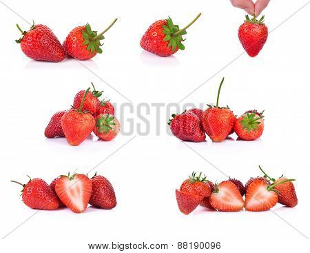 Set Of Strawberries Isolated On A White Background