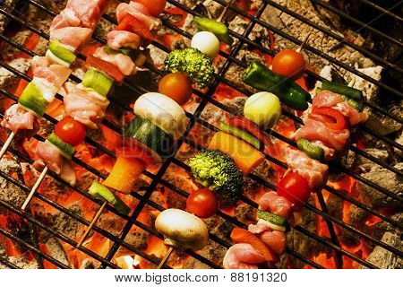 Grill With Kebabs