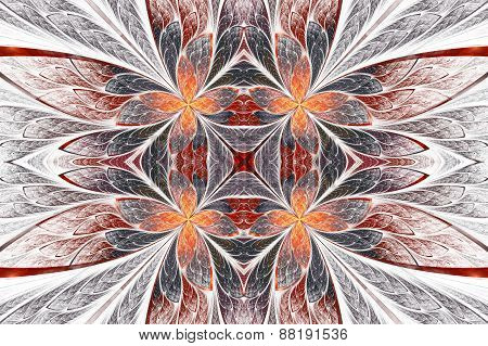 Symmetrical Flower Pattern In Stained-glass Window Style On Light. Beige, Orange And Brown Palette.