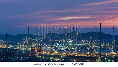 Oil Refinery Power Station At Twilight