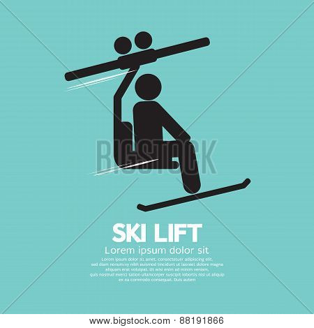 Ski Lift Graphic Symbol.