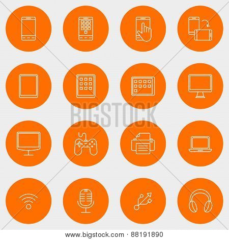 Set Of Thin Line Multimedia And Devices Icons. Vector Illustration