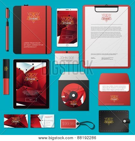 Red Vector Corporate Identity Template Design With Thin Line Logotype And Abstract Polygonal Backgro