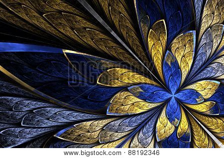 Fractal Flower Or Butterfly In Stained-glass Window Style On Bla
