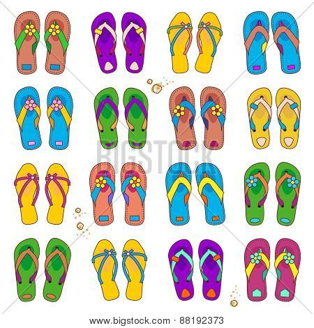 Design elements - colorful beach flip-flops