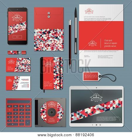 Corporate Identity Business Set With Thin Line Logotype And Triangle Background
