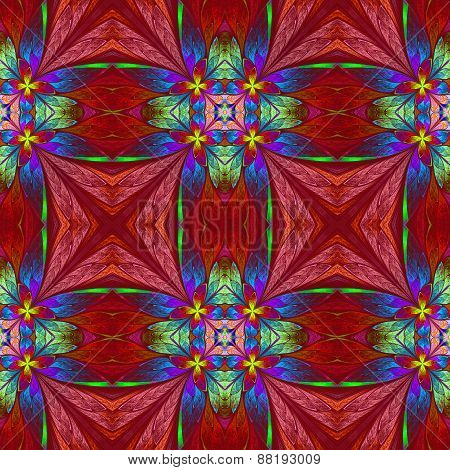 Symmetrical Multicolored Flower Pattern In Stained-glass Window Style On Red Backgrownd.  Computer G
