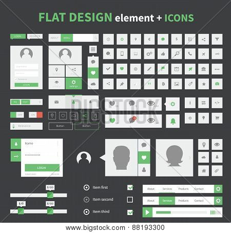 Flat Design Ui Kit Elements Set With Flat Icons