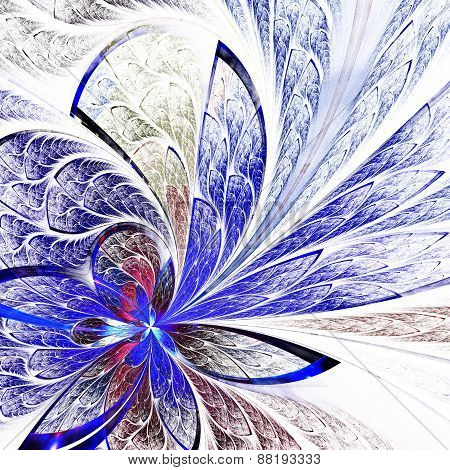Beautiful Flower Pattern In Stained-glass Window Style. Blue Palette. Computer Generated Graphics.