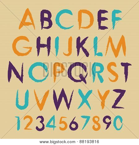 Vintage vector alphabet typography set with numbers.