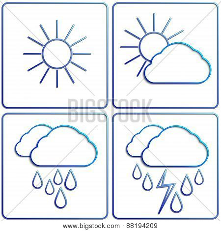 Vector abstract summer day weather flat image set