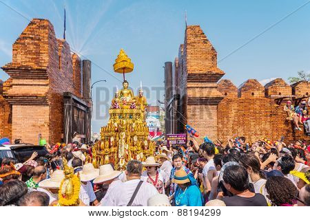 CHIANG MAI THAILAND-APRIL 13:Chiang mai Songkran festival.The tradition of bathing the Buddha Phra Singh marched on an annual basis. With respect to faith on April 13 2015 in Chiang mai Thailand.