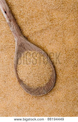 Cane Sugar On The Wooden Spoon