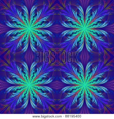 Beautiful Pattern From Fractal Flowers. Blue Palette. Collection - Frosty Pattern.