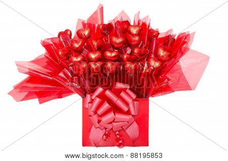Colorful Red Gift Of Chocolate Flowers