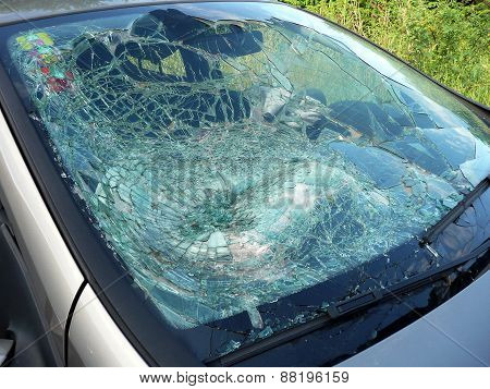 Car window pane, broken after accident