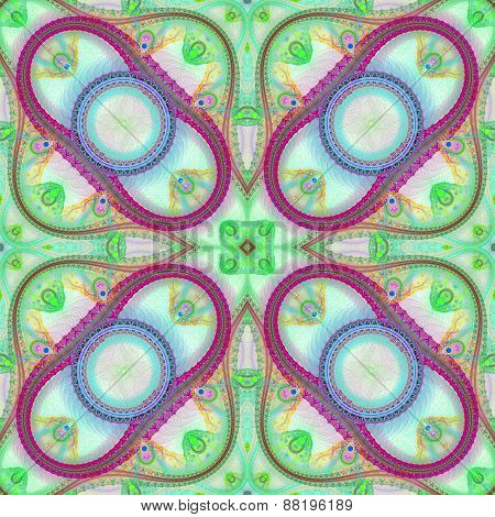 Multicolored Symmetrical Grid Fractal Pattern. Computer Generated Graphics.