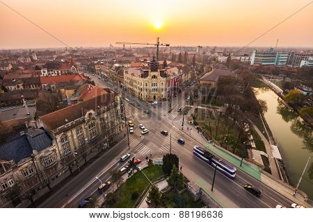Sunset in a European city