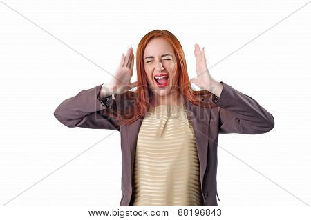 Young Redhead Screaming Business Woman With Headache