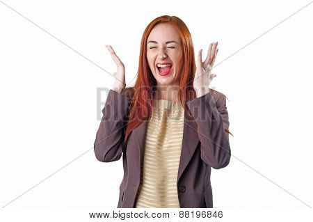 Young Redhead Screaming Business Woman