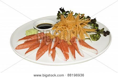 Sashimi Sushi Wasabi Imitation Crab Crab Stick Japanese Food Isolated White Background Shoyu