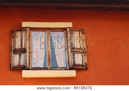 Open Of Old Window On Brown Background
