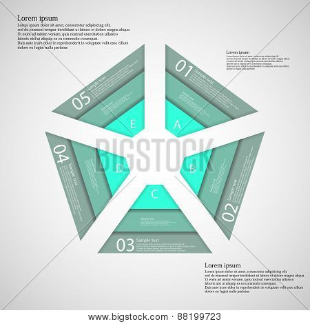 Pentagon Consist Of Three Green Ribbons