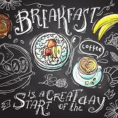 foto of banana  - Beautiful hand drawn illustration breakfast top view on the chalkboard cottage cheese - JPG