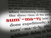 stock photo of summary  - Dictionary definition of the word SUMMARY on paper - JPG