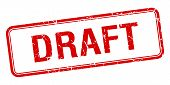 image of draft  - draft red square grungy vintage isolated stamp - JPG