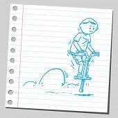 stock photo of bouncing  -  Boy bouncing on pogo stick - JPG