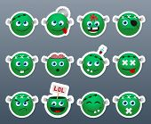 stock photo of frankenstein  - Set of funny and very beautiful green stickers on the theme of Frankenstein - JPG