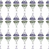 stock photo of tipi  - Watercolor seamless pattern with teepee on the white background - JPG