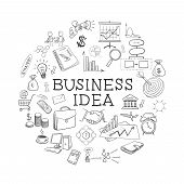stock photo of business class  - hand draw doodle web charts business elements - JPG