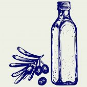 stock photo of olive branch  - Olive oil and olive branch - JPG