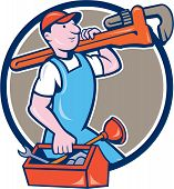 pic of overalls  - Illustration of a plumber in overalls and hat holding monkey wrench on shoulder and carrying toolbox viewed from the side set inside circle on isolated background done in cartoon style - JPG
