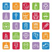 stock photo of baby duck  - Set of vector flat color icons baby and accessories - JPG