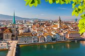 stock photo of zurich  - Downtown of Zurich at sunny day - JPG