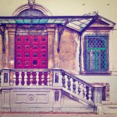 stock photo of vicenza  - Glass Overhang over the Porch of an Old House in the Italian City of Vicenza Instagram Effect - JPG