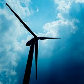 stock photo of turbines  - The wind turbine generator the renewable energy - JPG