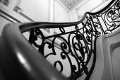 image of wrought iron  - wrought iron steps in a residential mansion - JPG