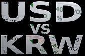 stock photo of won  - US dollar versus South Korean won  - JPG