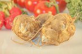 foto of jerusalem artichokes  - A few jerusalem artichoke in front of raddish tomato and kale - JPG