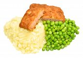 pic of mashed potatoes  - Crispy battered pork luncheon meat fritters with mashed potato and mushy peas isolated on a white background - JPG